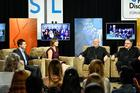 Young adults gathered in the Toronto studios of Salt + Light Catholic Media this week for a town hall meeting about the church. The event was hosted by Julian Paparella, left, Emilie Callan, Cardinal Kevin Farrell and the Rev. Thomas Rosica. (Courtesy: Salt + Light)
