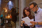 "Roma Downey and Mark Burnett are seen with the cast and crew on the set of the television miniseries ""The Bible"" at the Ouarzazate Museum in Morocco (CNS photo/Joe Alblas, courtesy Lightworkers Media)."