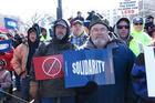 """Protesters oppose """"right-to-work"""" in Wisconsin"""