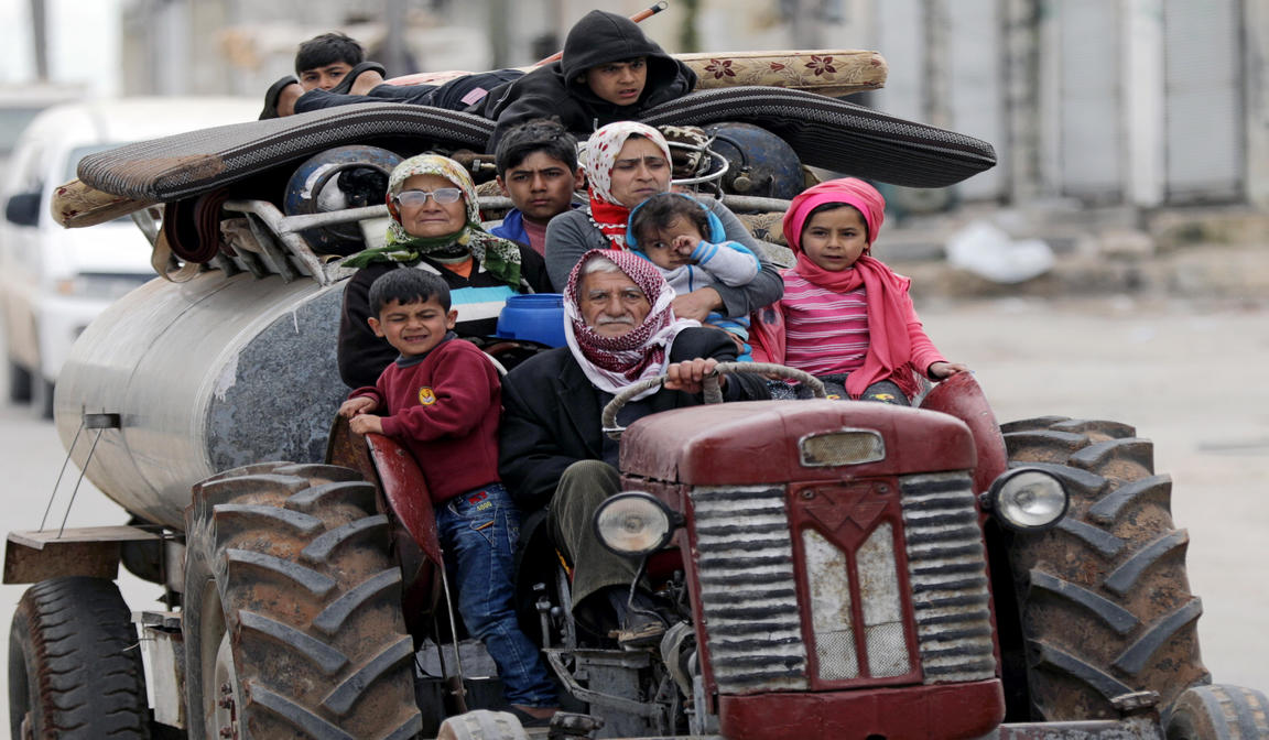 RESIDENTS FLEE SYRIAN VILLAGE