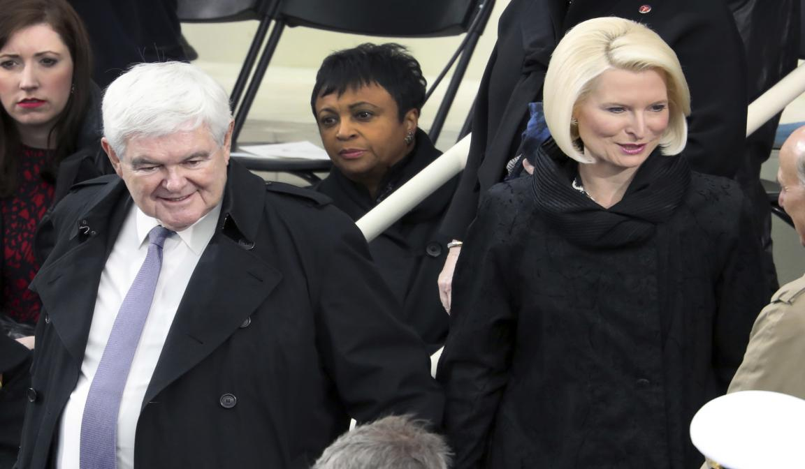Former House Speaker Newt Gingrich and his wife Callista at the presidential Inauguration on Jan. 20. (AP Photo/Andrew Harnik)
