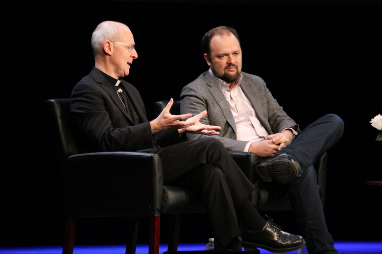 James Martin, S.J., and Ross Douthat at the Archbishop Fulton J. Sheen Center for Art and Culture in New York City.