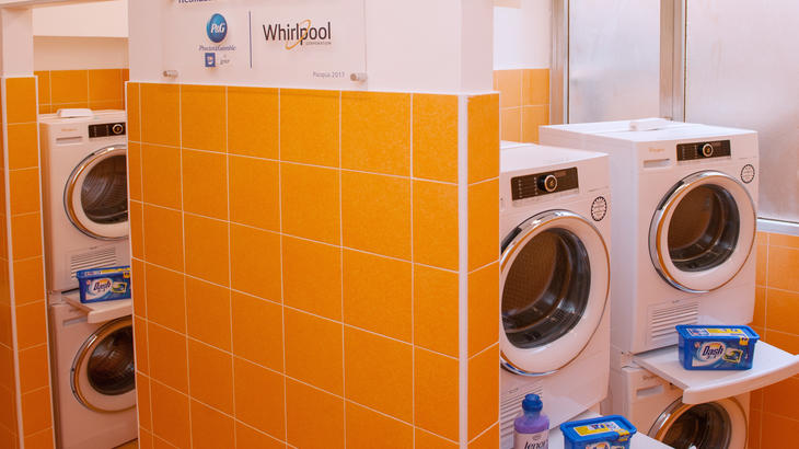 Six brand new washers and dryers donated by Whirlpool are featured at the Pope Francis Laundry facility in Rome, a new laundromat opened April 10 by the Papal Almoner's Office for the city's homeless. (CNS photo/courtesy of the Papal Almoner's Office)