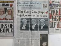 Front Page News. Some of the front pages of Britain's newspapers after the High Court determined that MPs must have a say on triggering Article 50 to begin the UK's exit from the European Union, in London, Friday Nov. 4, 2016. A High Court ruling that Bri